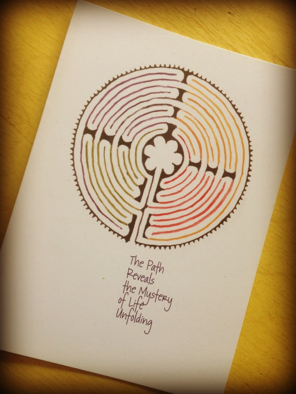 Watercolor labyrinth by Peg Conley